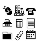 Set of black and white office icons