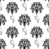 Calligraphic vintage floral seamless pattern