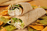 Chicken wrap sandwich on veggie tortilla chips