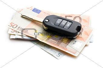 car key on euro currency
