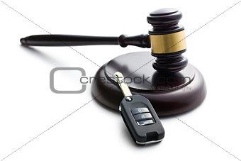 car key and judge gavel