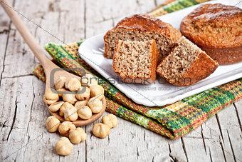 sliced fresh buns hazelnuts in spoon