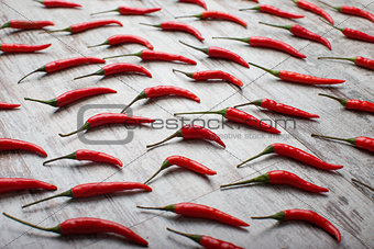 Red hot chili peppers on a table