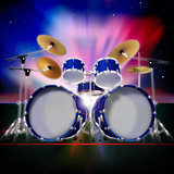 abstract background with sunrise and drum kit