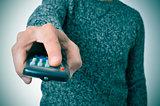 man using a remote control
