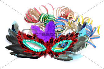 carnival mask and paper streamers