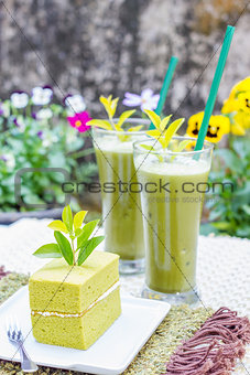 Green tea cake and a glass of Ice Green tea
