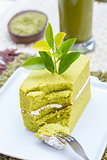 Green tea cake and a glass of Ice Green tea