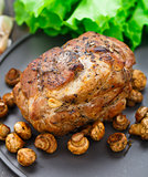 Oven baked pork with mushrooms