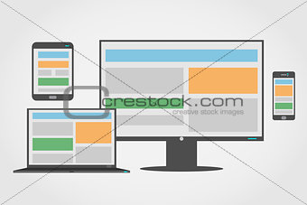 Adaptive and responsive web design icon set