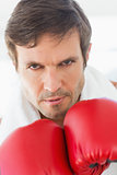 Closeup portrait of a determined male boxer