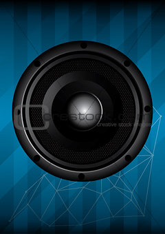 Black speaker with lines. vector illustration