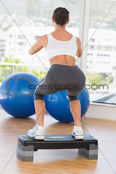 Rear view of a fit young woman exercising on step