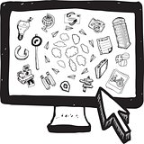 Cloud computing illustrations on computer screen