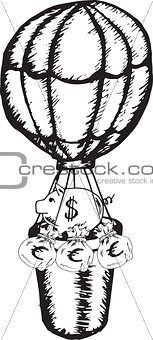 Piggy bank in hot air balloon