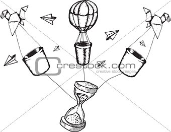 Hot air balloons and hourglass doodles