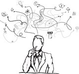 Thinking businessman illustration