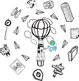Hot air balloon with lifestyle doodles