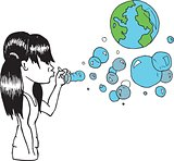 Girl blowing earth bubbles
