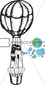 Girl blowing earth bubbles in hot air balloon