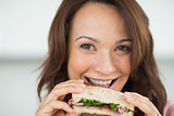 Closeup of a woman eating sandwich