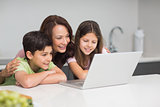 Smiling mother with kids using laptop in kitchen