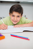 Smiling boy doing homework in kitchen