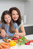 Woman with daughter chopping vegetables in kitchen