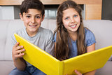 Portrait of smiling siblings with photo album in living room