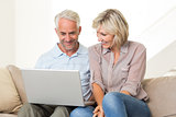 Happy mature couple using laptop on sofa