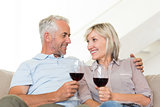 Smiling mature couple with wine glasses sitting on sofa