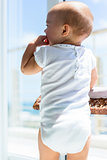 Rear view of a cute baby