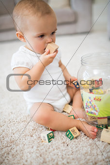 Cute little baby with toys sitting on carpet