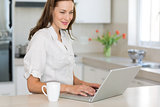 Smiling young woman using laptop in kitchen