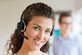 Female call center operator wearing headset