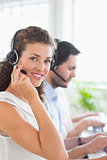 Confident call center operator