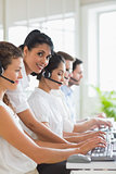 Manager assisting staffs in call center