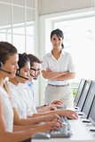 Female manager working in a call center