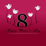 Happy Women's Day on March 8th. 8 march tucked with pocket on a red background.
