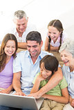 Multigeneration family using laptop