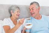 Senior woman feeding cereals to husband