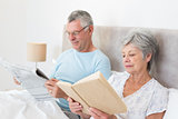 Senior couple reading newspaper and book in bed