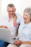 Happy senior couple looking at laptop
