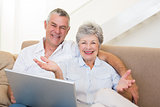 Happy senior couple with laptop on sofa