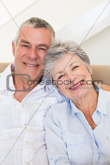 Affectionate senior couple smiling together