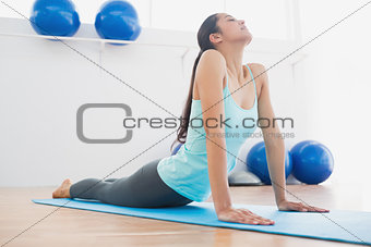 Fit young woman doing the cobra pose in fitness studio