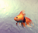Goldfish modern wallpaper. Triangle mosaic flat surface 3d render with golden veil fish in water.