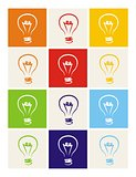 Light bulb vector icon set - hand drawn colorful doodle collection isolated on white background