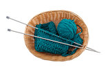 ball of wool and knitting in the basket for needlework on a whit