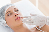 Woman recieving botox injection